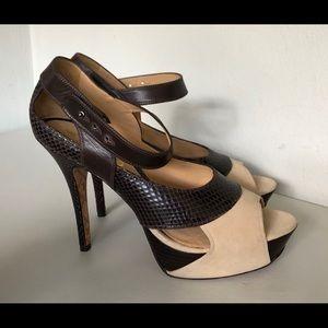 Platform Heels by Lamb Suede & Snake Leather